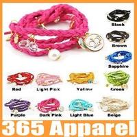 Fashion multilayer braid leather bracelet crystal key crown charms bracelet free shipping