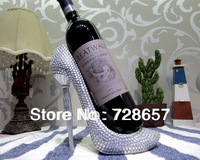 Romantic and Creative Resin High-heeled Shoe Wine Holder Decorative Art and Craft Ornamental Furnishing with Crystal Diamond