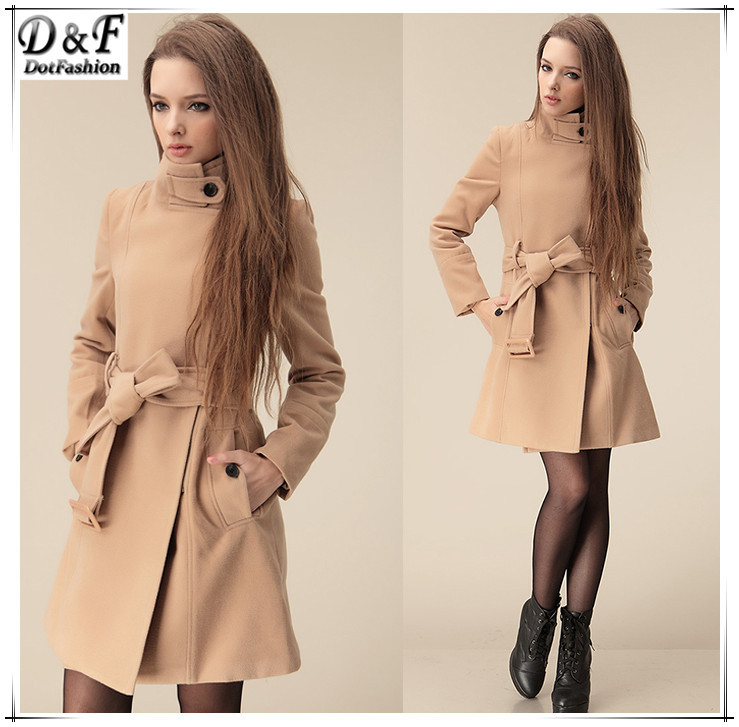 2014 New Fashion Spring/Fall Women Brand Clothing Hot Sale Camel Wide Lapel Belt Oblique Zipper Wool-blend Trench Woolen Coat(China (Mainland))