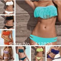 Free Shipping 200pcs/lot  2013 Fashion Tassels Swimwear Sexy Women Push UP Bikini Sets Swimsuit Swimwear Tassel top 3 sizes