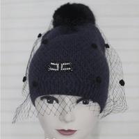 warm ELISABETTA FRANCHI rabbit fur bubble wool beauty yarn hat for girl winter hats multicolor women caps yarn for knitting