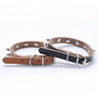 Pet PU Leather Puppy Dog Cat Neck Strap Rivet Spiked Studded Collar Rivet Buckle LX0155 Drop shipping & Free shipping
