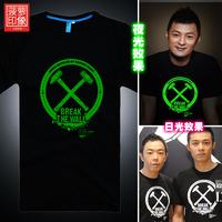 Luminous T-shirt blessing God  Edison brand to eye  Harajuku venetum fluorescent color T-Shirt Tee