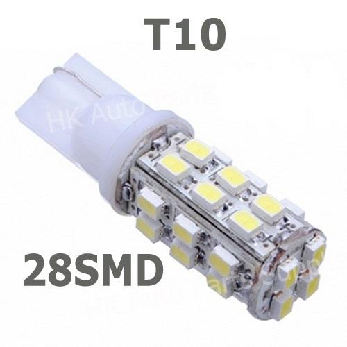 HotSale NEW wholesale 10pcs T10 28smd 28led 1210/3528 Car High Power 168 194 W5W White 28 SMD LED Wedge Light Bulb Lamp 12V(China (Mainland))