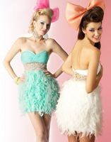 EEC141  Sweetheart Sleeveless Mini Feather Party Dresses