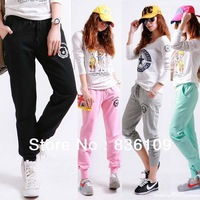 Free Shipp CTO 2013 Korean Style New Women's Lululemon 100% Cotton Pants Harem Pants Loose Plus Size Students Sweatpants 6184