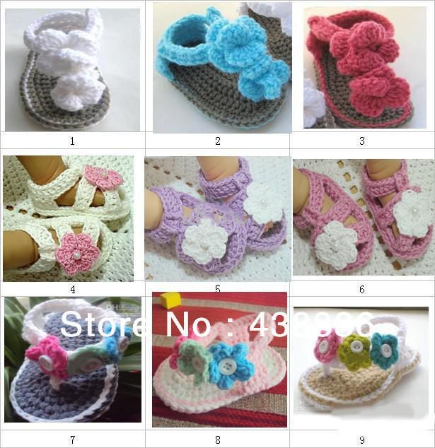 Livraison gratuite d'été bébé garçons filles Crochet chaussures bébé Toddler fleurs à la main sandales Double semelle pantoufles fil de coton 0 - 12 M(China (Mainland))