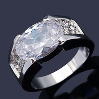 New Size 8 9 10 11 Fashion Jewelry NO94 10KT White Gold  Ring Gift Man's White Sapphire  Gift