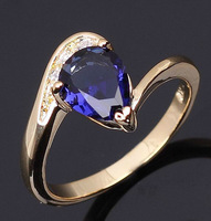 Fashion Jewelry Blue Sapphire NO 90 Woman's 10KT Yellow Gold  Rings Size 7 8 9 Best Gift