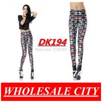 Fashion Women Leggings Pirates Mini Esqueleto Printed Skinny Jeans Super Elastic Punk Style Black Milk  Leggings Wholesale DK194