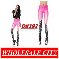 Fashion Women Leggings Sexy Aurora Skye Orange Printed Skinny Jeans  Super Elastic  Black Milk Galaxy Leggings Wholesale DK193