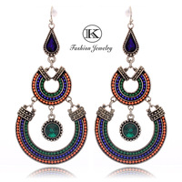 New 2013 Best selling High-quality European and US Fashion personality women Tricolor beads Round pierced Earrings E52