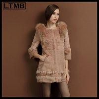 LTMB Women mink fur coat  long style winter fur  o-neck collar three quarter sleeve fox for shoulder  new outerwear 2014