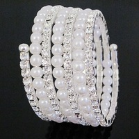 Min Order $5 (Mix Order) 5 colours 7 Rows Rhinestone Pearl Bracelet Simulated CZ Diamond Rhinestone Bracelet Free Shipping