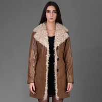 Women Genuine Sheepskin Leather Coats With Rex Rabbit Fur Lining & Lamb Fur Collar 2014 New Arrival Blue/Black/Brown-yellow