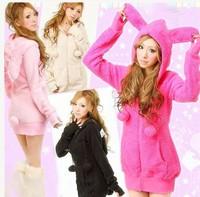 2014 New Cute Rabbit Ears Hooded Women Jackets Brand Spring Long Sleeve Zipper Jackets Women Casual Candy Color Women Coats