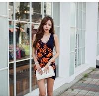 2014 Summer New Arrival Floral Low Cut Sexy Club Wear Vest Black Mini Dress 8/907
