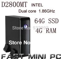 Intel D2800MT  1.86Ghz dual core CPU mini computer with Win XP system HD full screen videos  4G RAM  64G SSD  MINI PC MINI ITX