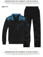 Spring And Autumn Larger Size Sportswear Fashion Brand Movement Warm Cotton Men Sports Suit  5017