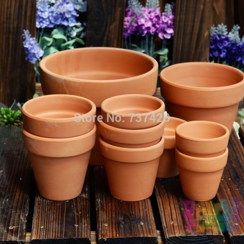 Ancient red pottery flowerpot Terracotta flower pot fleshier plant basin ceramic flower pot crafts planters garden accessories(China (Mainland))