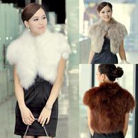 2014 New Hot Sale Autumn Winter Elegant Lady Women Fashion Faux fox fur waistcoat super temperament short Top coat jacket vest