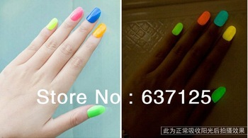 Free Shipping Colors Fluorescent Luminous Neon Glow In Dark Varnish Nail Art Polish Enamel