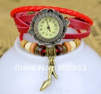 New arrival 2013 fashion retro good for women ladies watch  Bracelet   Genuine Leather Band Watch +many colors