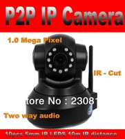 Wireless 720P IP Camera P2P Plug and Play 1.0 Mega Pixel Indoor HD PTZ Network Camera WIFI Function