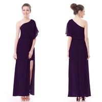 HE09898PP 2014 New Sexy Purple One Shoulder Slitted Ruffles Long Chiffon Evening Dress