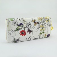 Free shipping long design floral leather casual Zipper wallet for women Chinese style Fashion wallet Wholesale