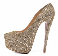 Brand design fashion 16cm crystal high heels wedding shoes woman platform pumps rhinestone red sole shoes