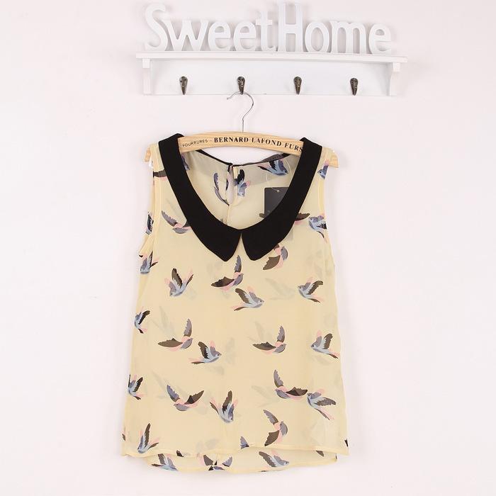 Fashion Women Girl Bird Print Lapel Sleeveless Chiffon Shirt Blouse