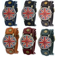 BRITAIN FLAG New 2013  Vintage Men Belt Genuine Leather Strap  Watch Wide Band UK flag Dial Casual  Quartz Watch Free Shipping