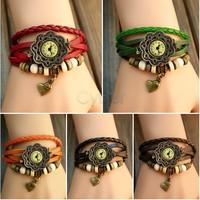 2014 New Fashion Heart Leather Strap Vintage Brand Watch Dress Wrist Bracelet Women Ladies Watch 18772
