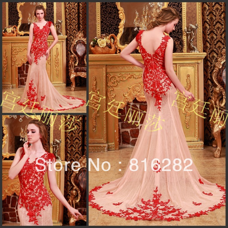 2014 Sheath Column Floor-Length Appliques Chapel Train V-Neck Spaghetti Strap Sleeveless Beads Champagne Tulle Evening Dresses(China (Mainland))