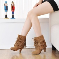US4-16 Colors 2013 New arrived Sexy Party Tassel Platforms boots Ankle for women's high heels shoes LLSL-S-13