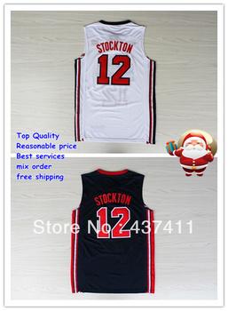 Free Shipping 1992 USA Olympic dream team shorts 12 John Stockton white black retro throwback vintage Basketball  jersey