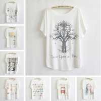 New 2013 Fashion  YS Brand Love Tree Printing High Quality Cotton T Shirt Women Loose Short Sleeve Free Shipping