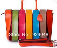 2013 bags color block women's patchwork handbag seven multicolour stripe bag fashion handbag messenger bag female