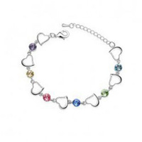 (Min order $10 mix) 18K white gold plated austrian crystal heart women wedding natural stone charm bracelet