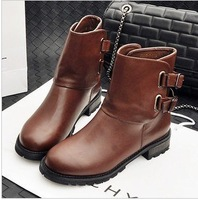 Free shipping women motorcycle boots for women 2013 fashion low-heeled British style buckle rubber boots for women