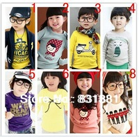 2013 new kids clothes  boys girls t shirt Multicolor optional Children clothing cheap  t shirts free ship Long sleeve t-shirt
