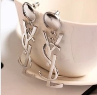 European and American classic glossy golden letters essential earrings sexy nightclub
