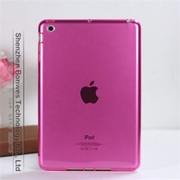 100pieces/lot,Transparent colors Slim Fit Flexible TPU Case for ipad mini,free shipping
