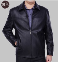 Free shipping 2013 new style men's business casual leather jacket  lapel leather Genuine Leather jackets,M-XXXL