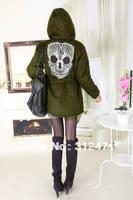 2013 Hot Women's Mesh Skull Skeleton Punk Military Green Style Jackets with Hoodies Slim Waist thick skull cotton coat