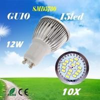 10 X  High Power  SMD5730 15LED  GU10 /  MR16  / E27 / E14  AC85-265V 12W   Led Light Bulbs FreeShipping