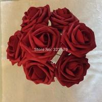 Dark Red Artificial Wedding Flowers Bridal Bouquets 7cm Foam Roses Burgundy 100 PCS Bulk Wholesale