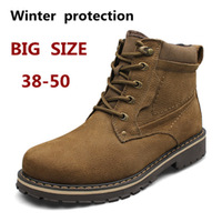 Free Shipping+  Men's Winter Boots 100% Genuine Leather Boots Big Size Waterproof Rubber Boots  47  48  49  50