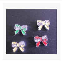 100pcs 8mm mixed color Bow Tie Slide Charms Fit Wristband!